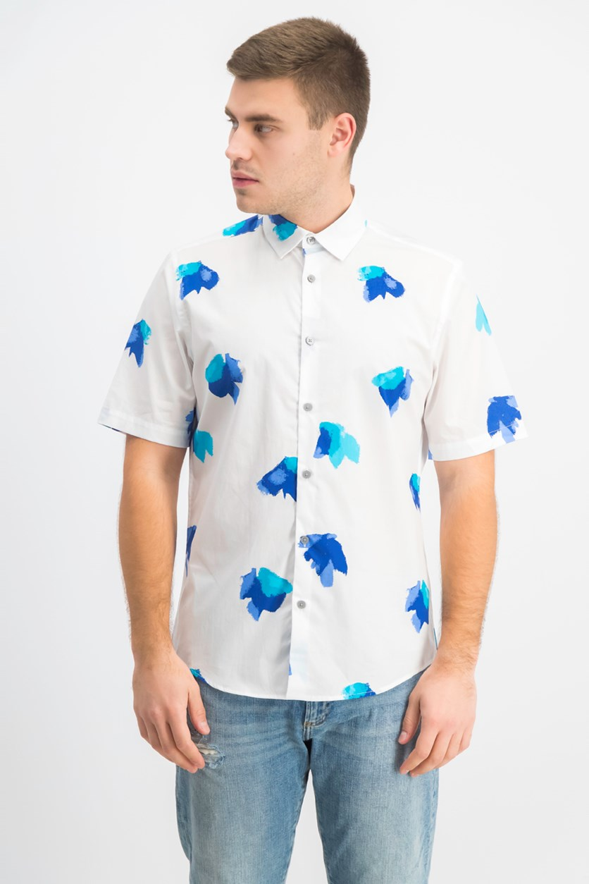 Men's Stretch Floral-Print Shirt, Bright White