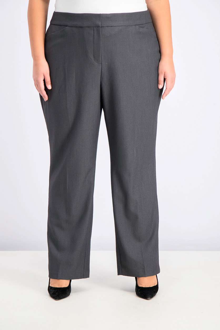 Women's Plus Size  Straight-Leg Pants, Rockport Gray