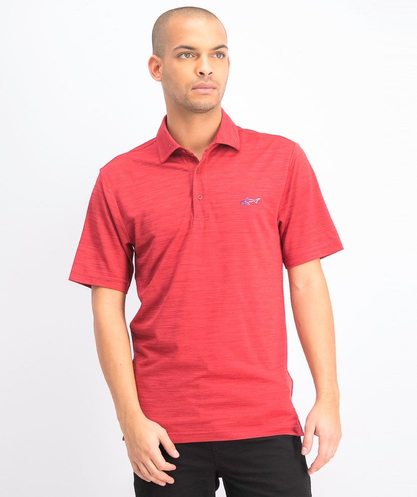 Men's Space-Dye Performance Golf Polo, Bright Crimson
