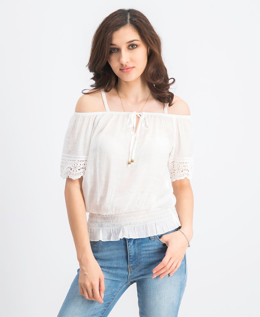 Juniors' Off-the-Shoulder Peasant Top, Off White