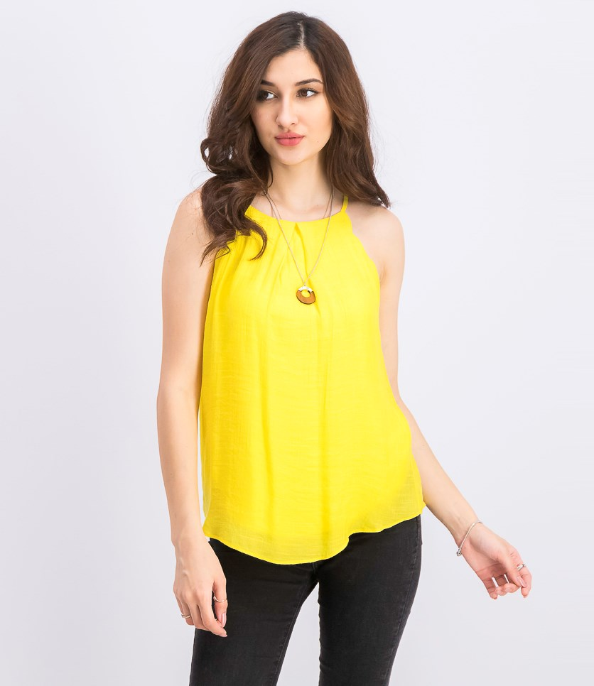 Juniors' Scalloped Tank Top with Necklace, Sunshine