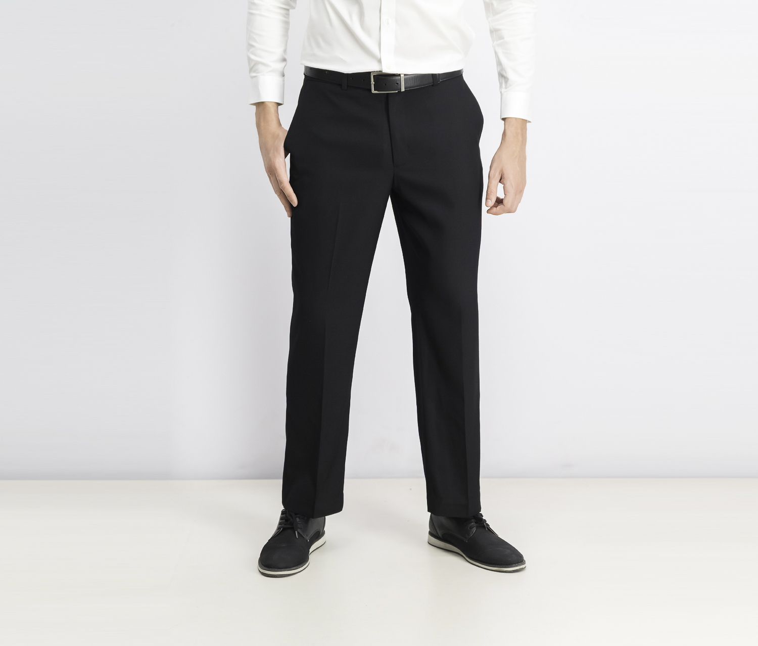 Flat Front Classic Fit Dress Pants, Black Ice