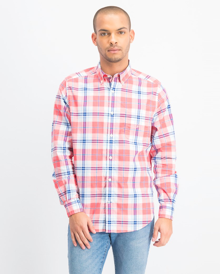 Men's Classic-Fit Performance Stretch Plaid Shirt, Blue/Coral Pink
