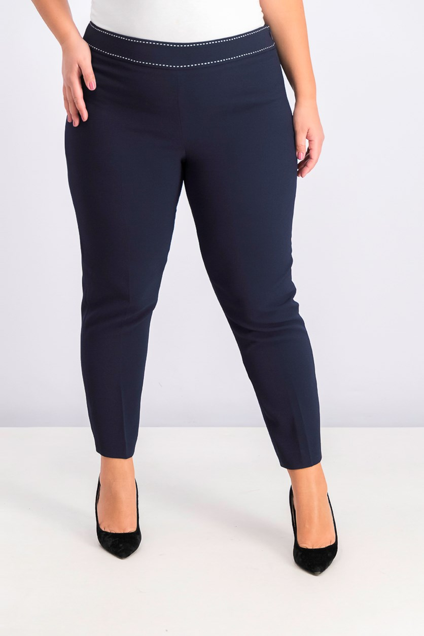 Women's Asl Side-Zip Studded Ankle Pants, Navy