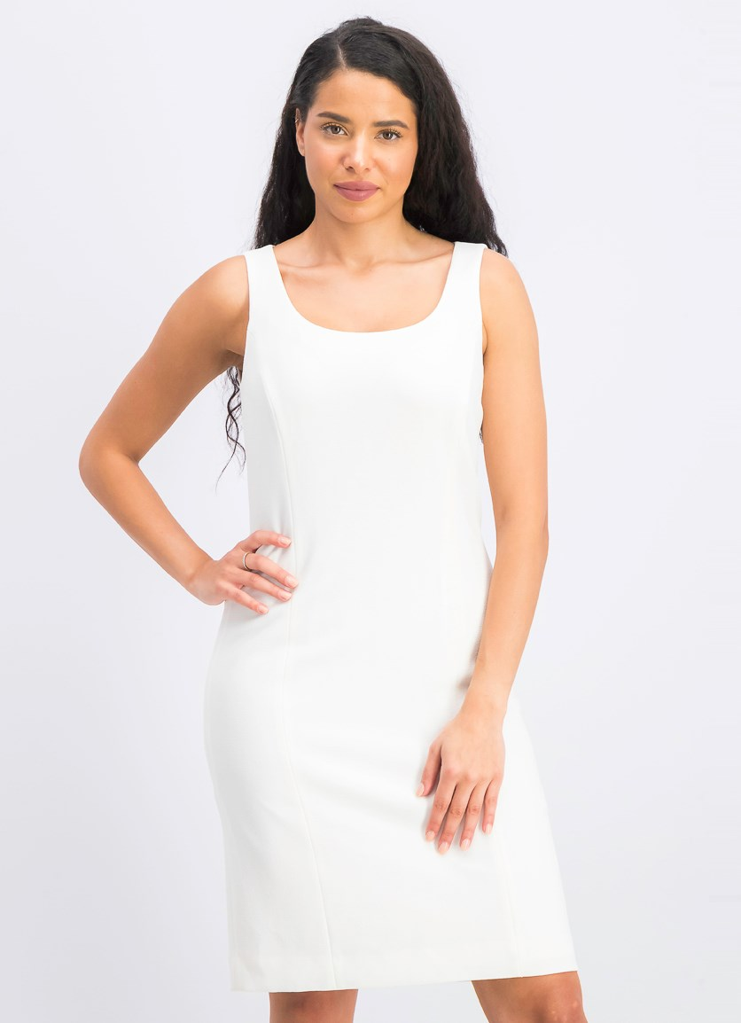 Women's Seamed a-Line Dress, Ivory