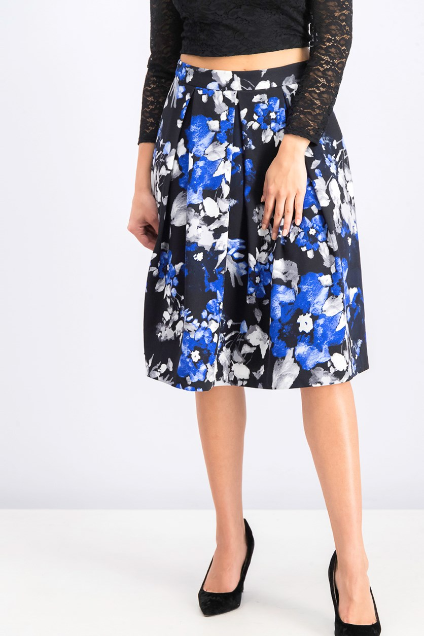 Womens Petite Floral-Print Pleated Skirt, Blue Combo