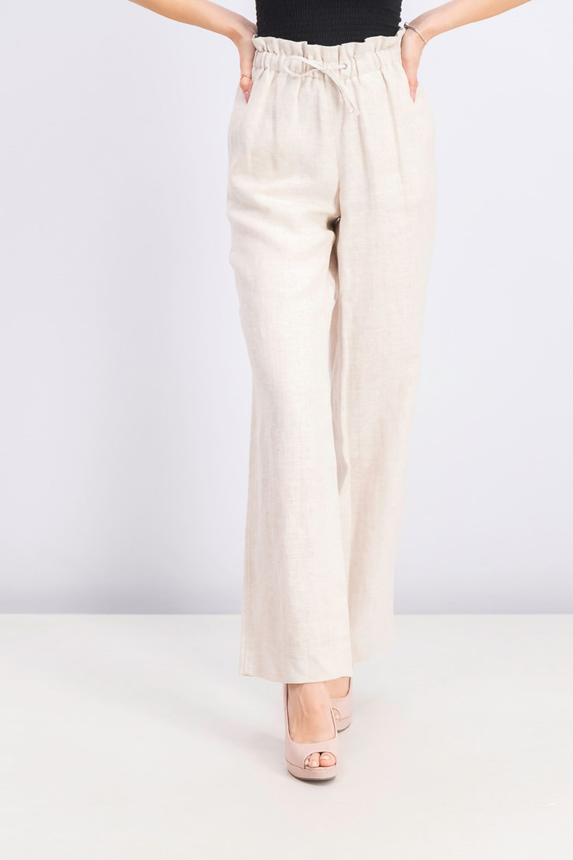Women's Tie-Waist Wide-Leg Pants, Light Natural