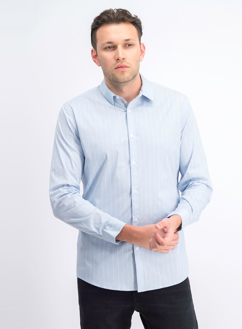 Men's Slim Fit Bloom Text-Stripe Shirt,  Light Blue Combo