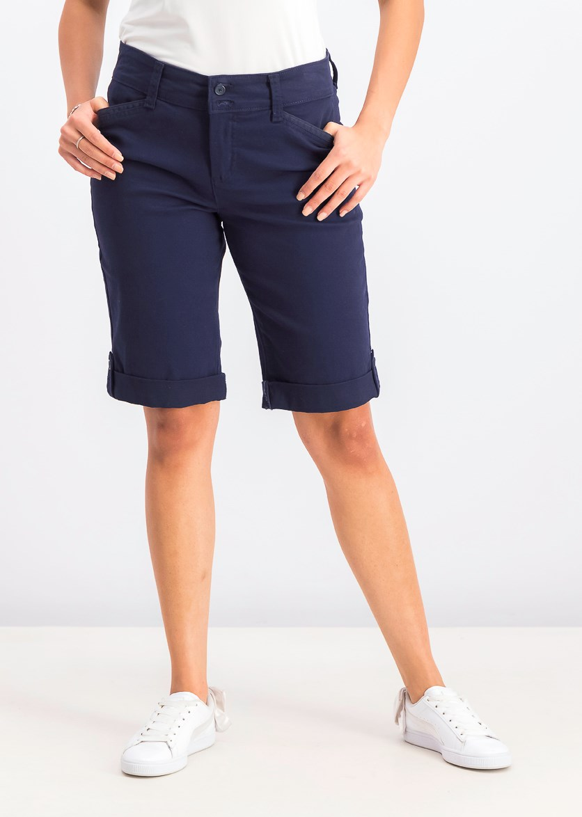 Women's Tummy Control Chino Shorts, Intrepid Blue