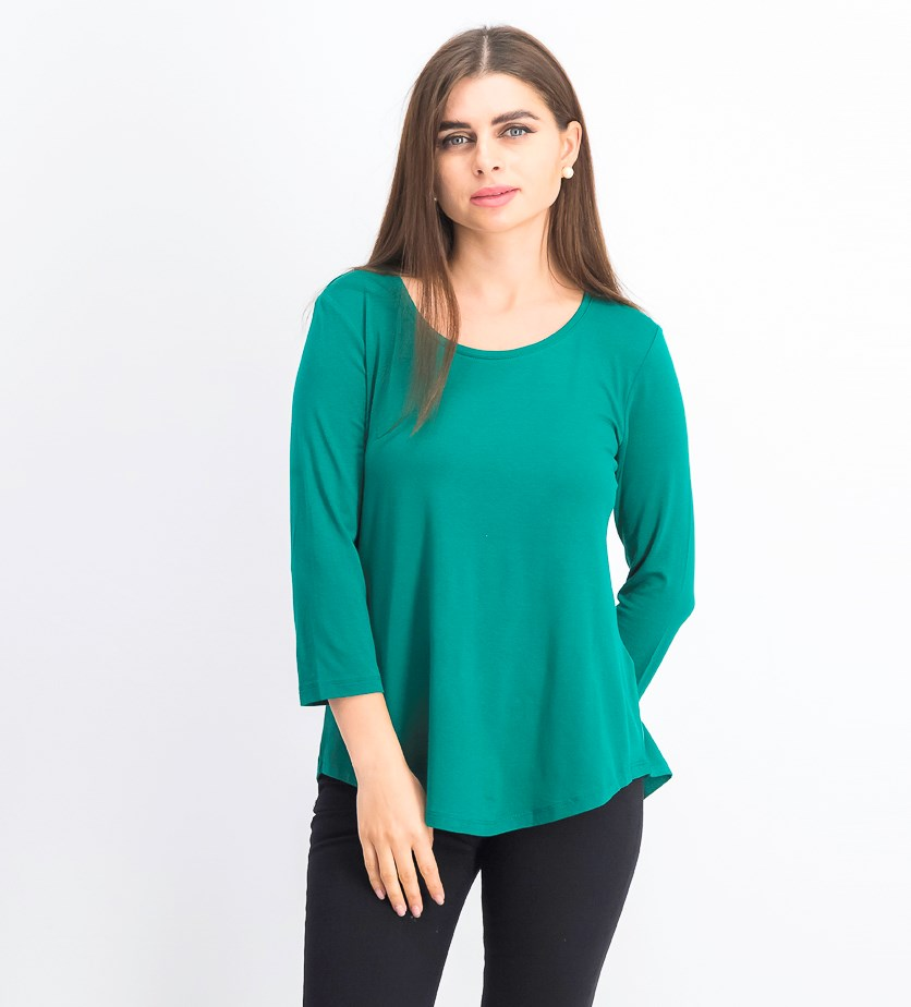 Women's Petite Scoop Neck Top, Highland Green