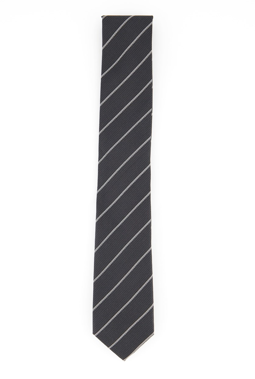 Men's Slim Stripe Silk Tie, Black