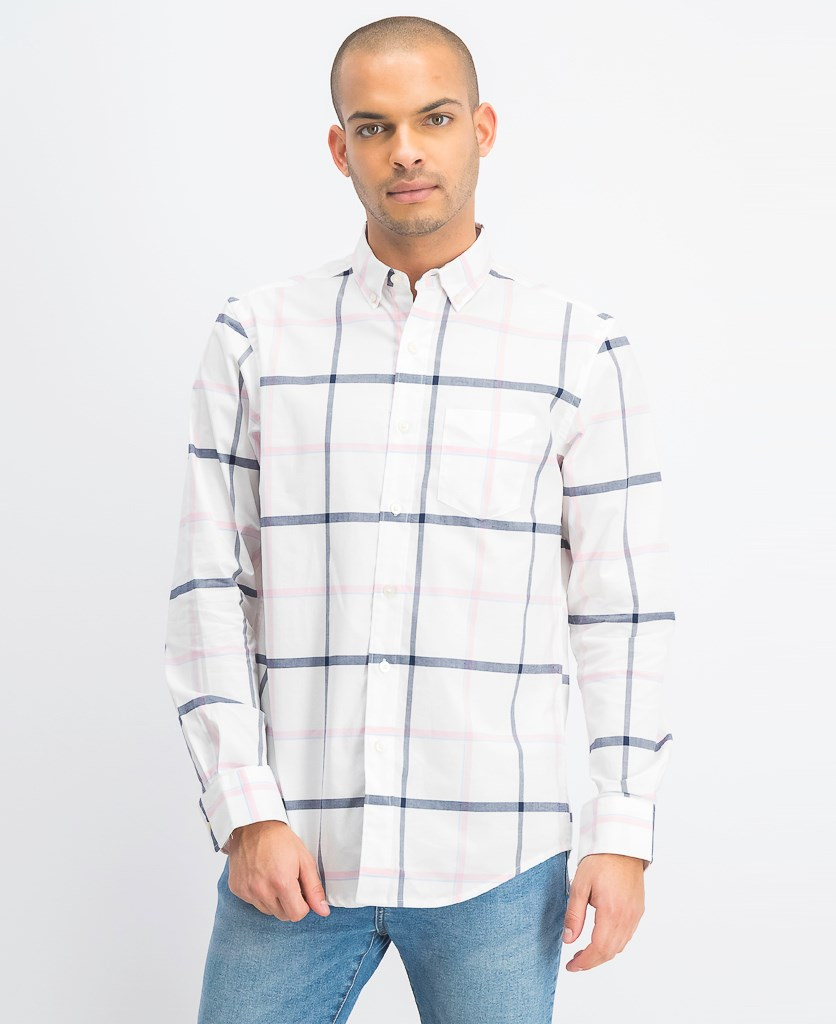 Men's Windowpane Plaid Pocket Shirt, Bright White