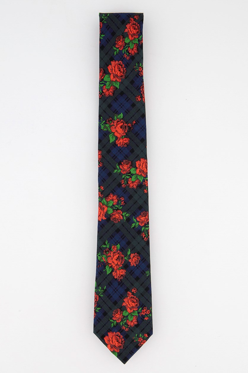 Men's Rose Tartan Skinny Tie, Navy/Burgundy