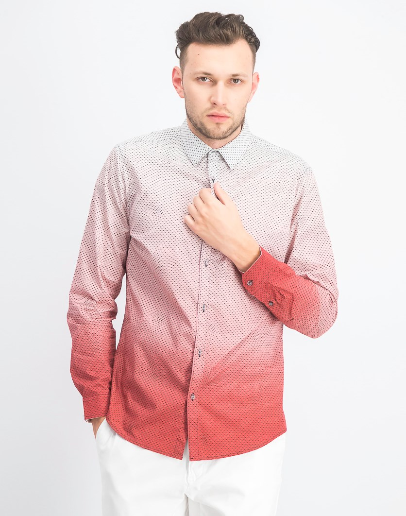 Men's Ombre Geometric Pattern Shirt, Red Combo