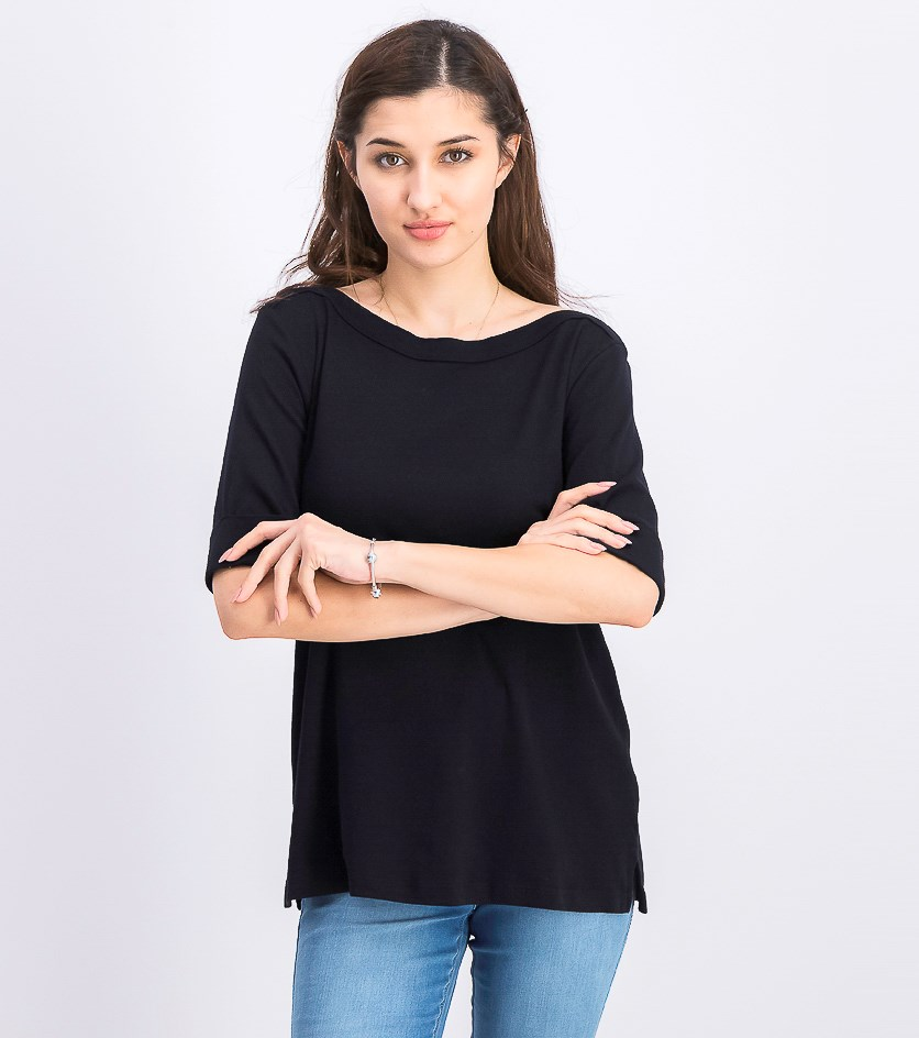 Women's Cotton Elbow  Sleeve Boat Neck Top, Black