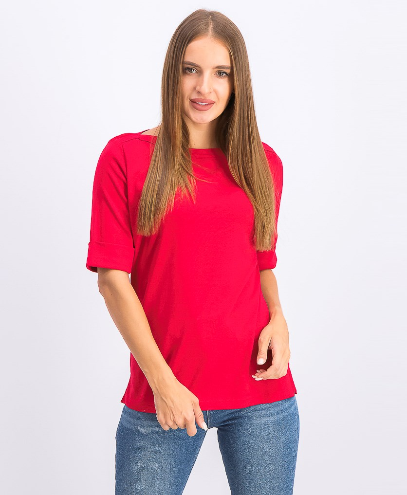 Women's Cotton Elbow-Sleeve Top, New Red Amore