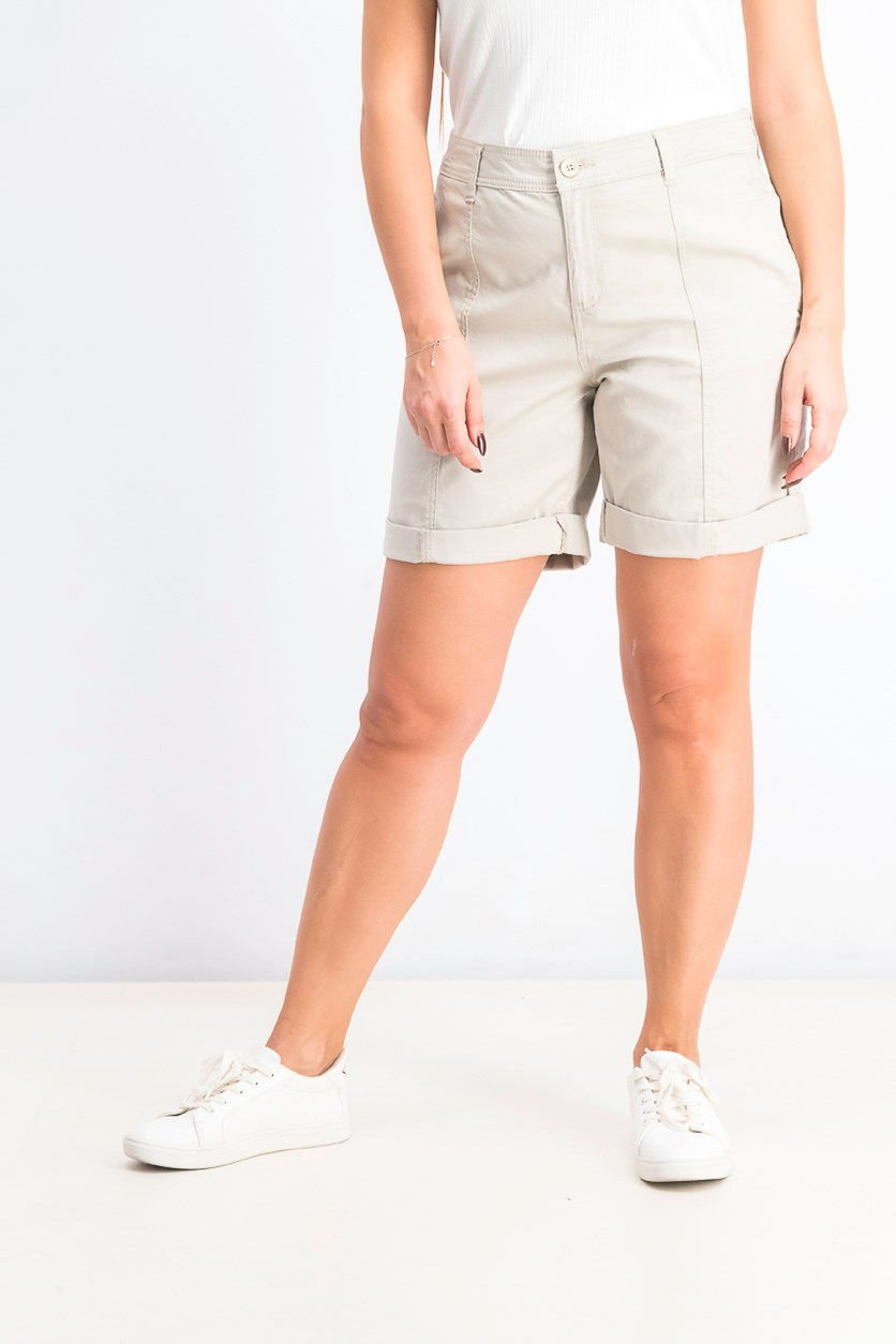 Women's Cuffed Seam-Detailed Shorts, Stonewall