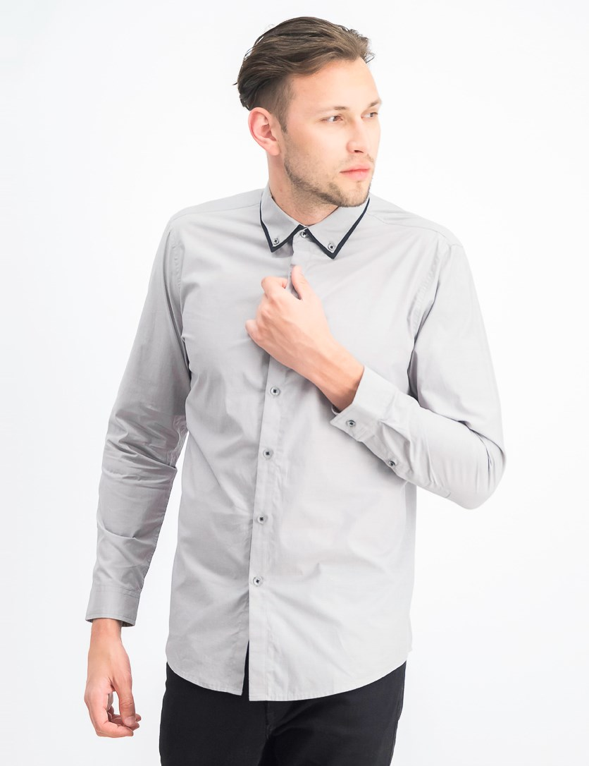 Men's Tipped Collar Casual Shirt, Grey Combo