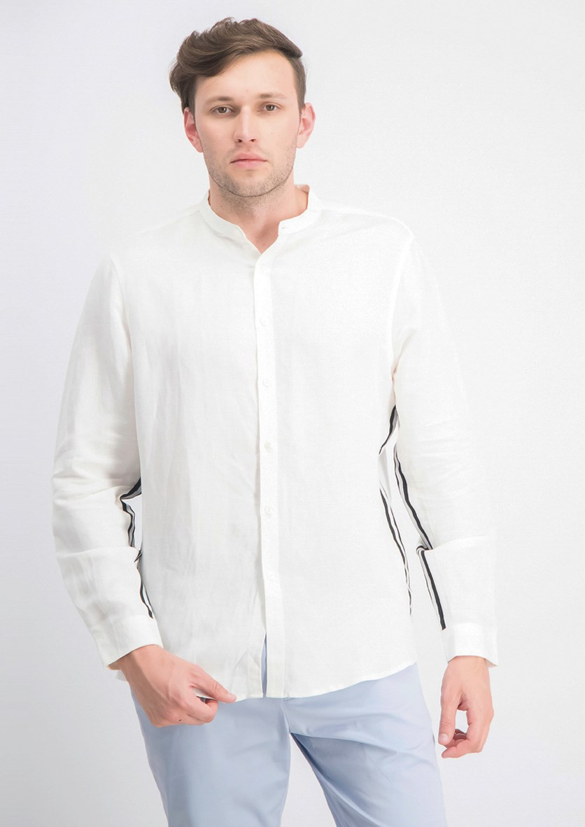 Men's Side Linen Stripe Band-Collar Shirt, White