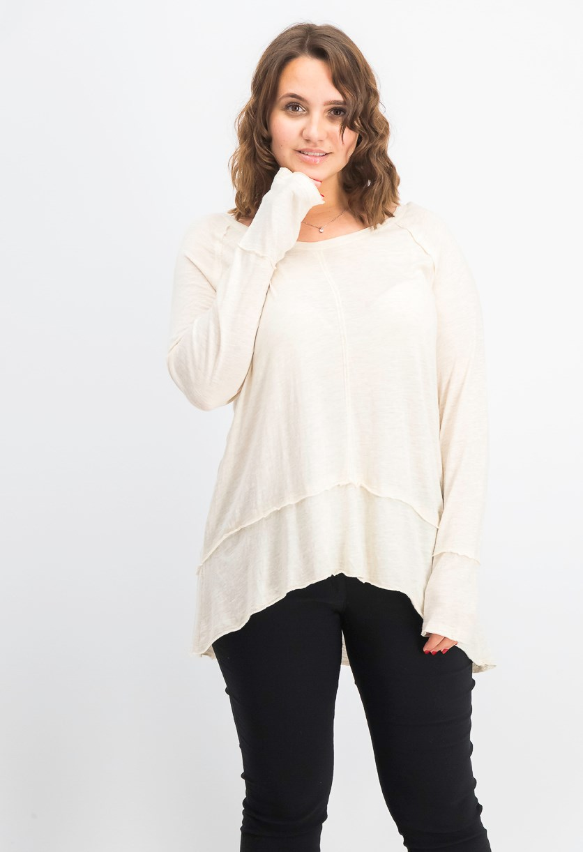 Women's Cotton High-Low Top, Oatmeal Heather