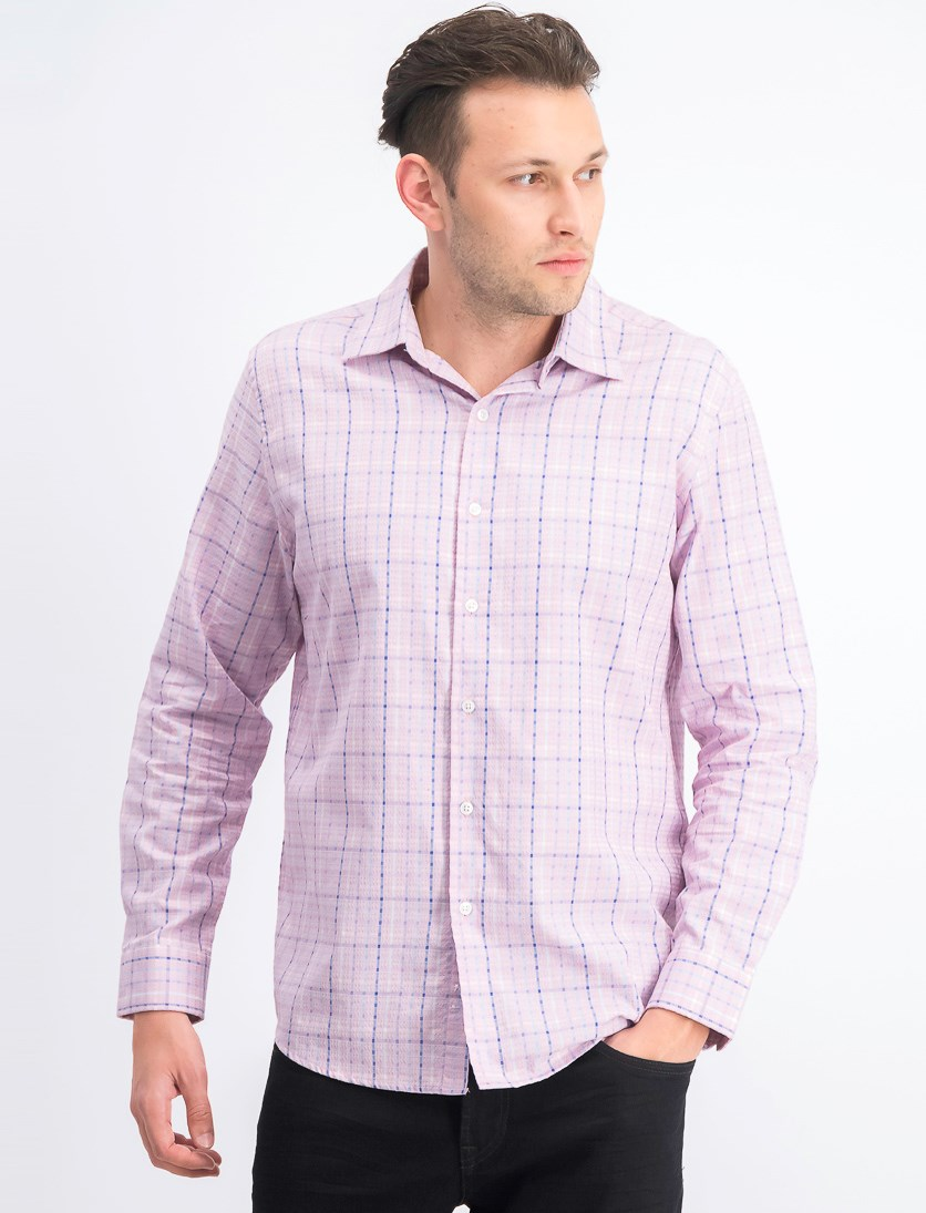Mens Plaid Dress Shirt, Pink