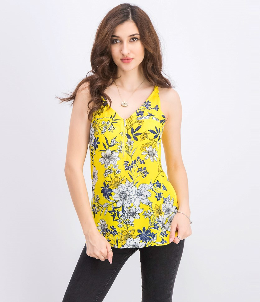 Juniors' Floral-Print Tank Top, Yellow Floral