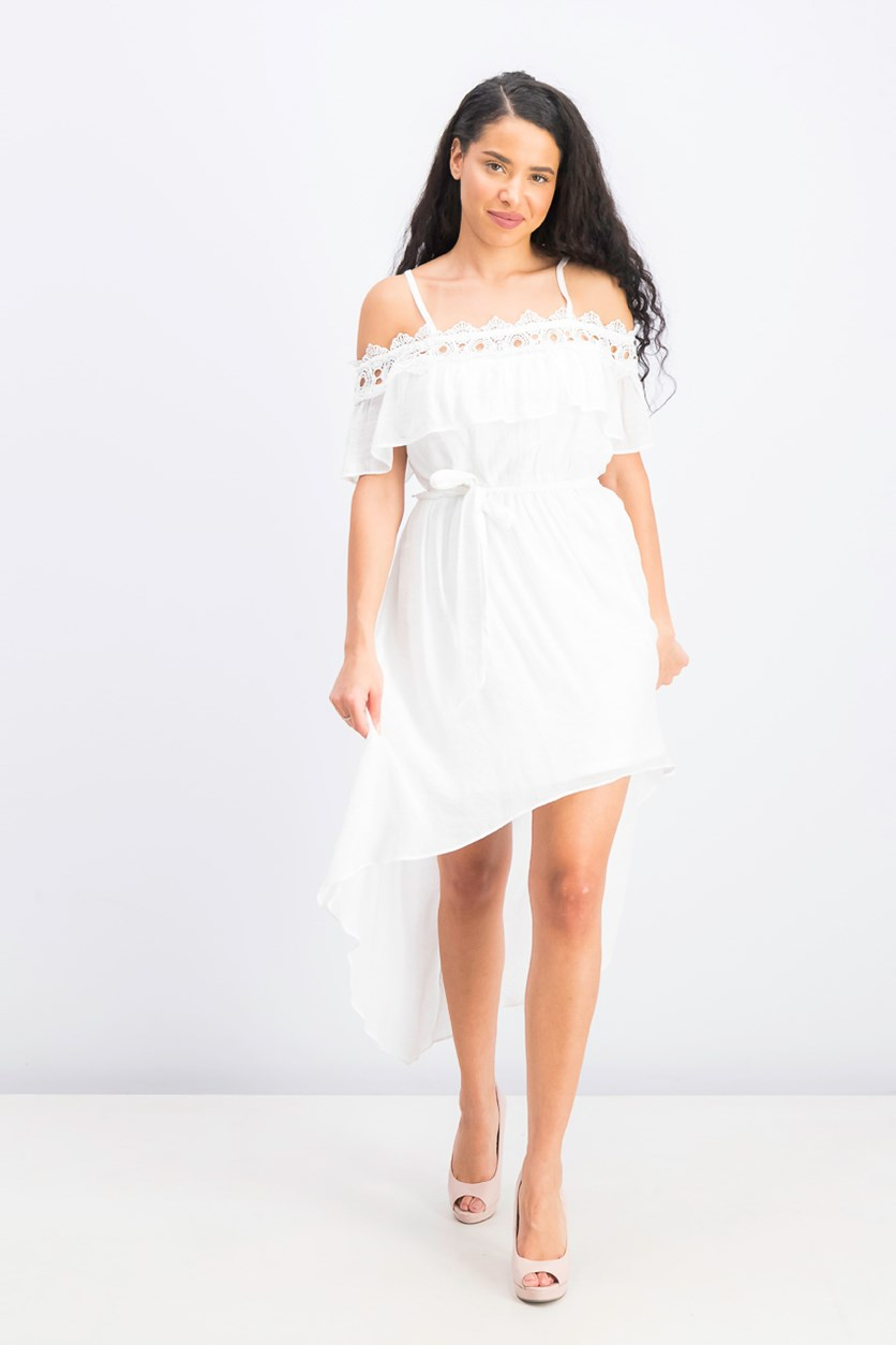 Women's Short-Sleeve Cold-Shoulder Dress, Paper White