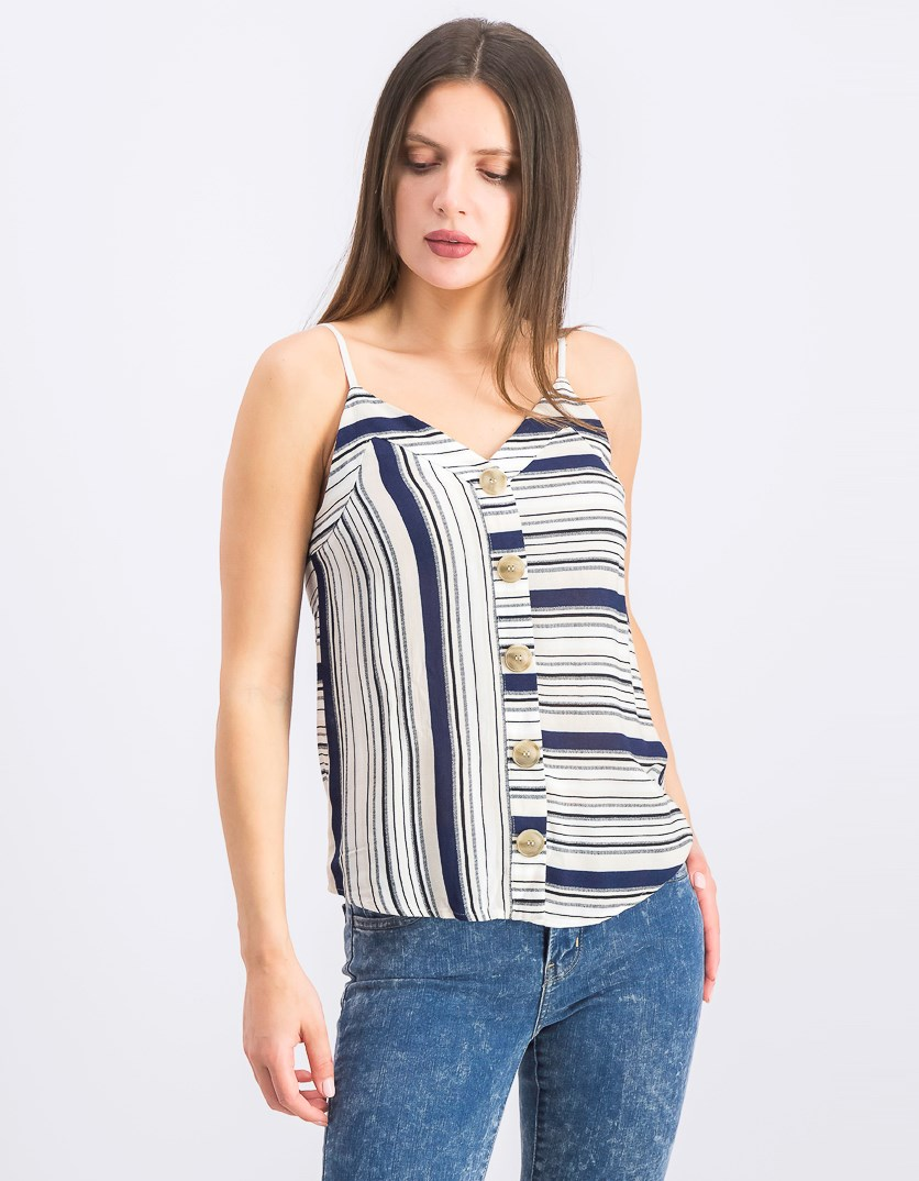 Juniors' Striped Button-Trimmed Tank Top, Beige/White/Navy