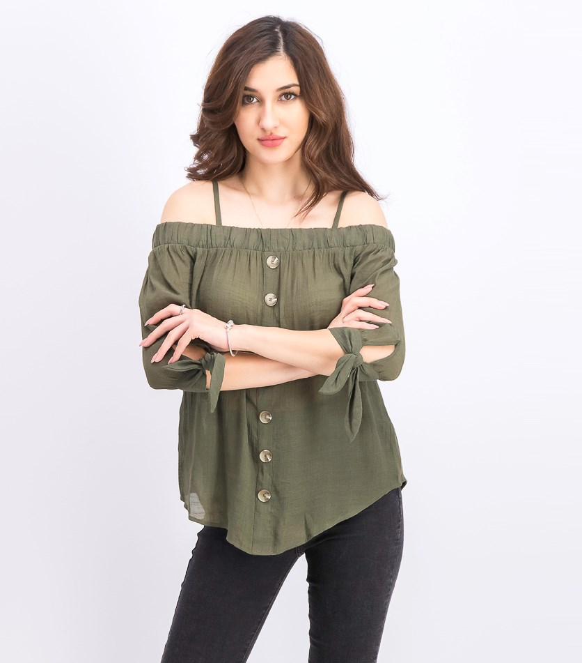 Juniors' Tie-Sleeve Off-the-Shoulder Top, Dark Olive