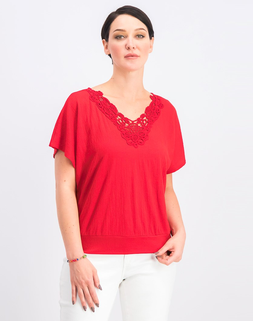 Women's Juniors' Crochet-Trim V-Neck Top, Red