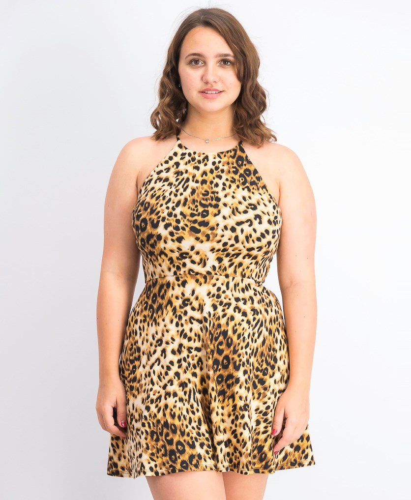 Juniors' Animal-Print Strappy-Back Dress, Leopard