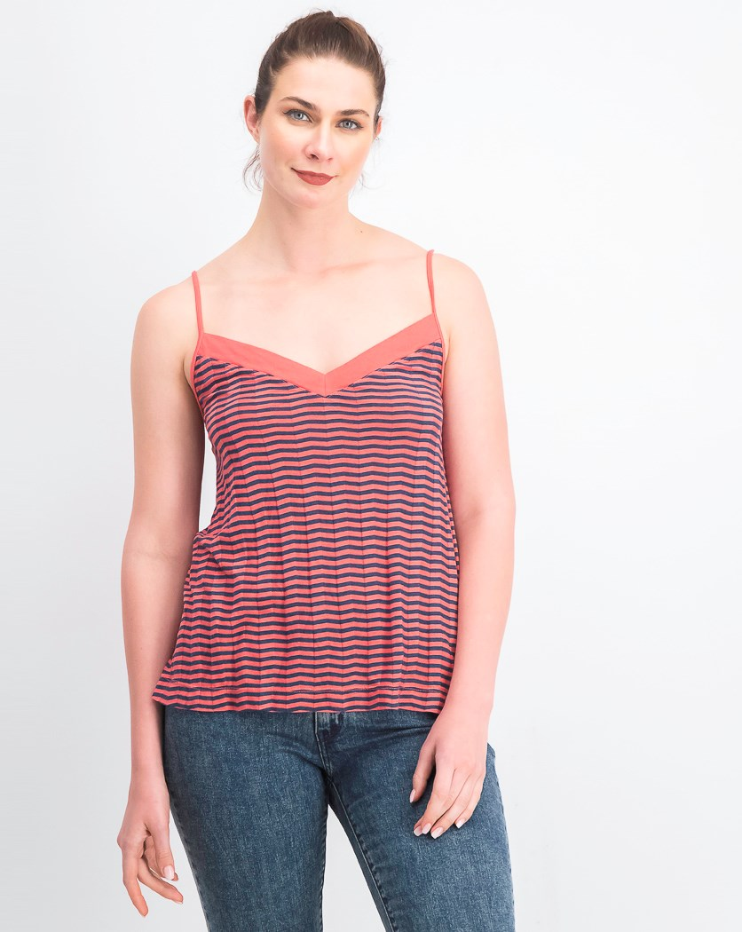 Womens Striped Strappy Tank Top, Red/Navy