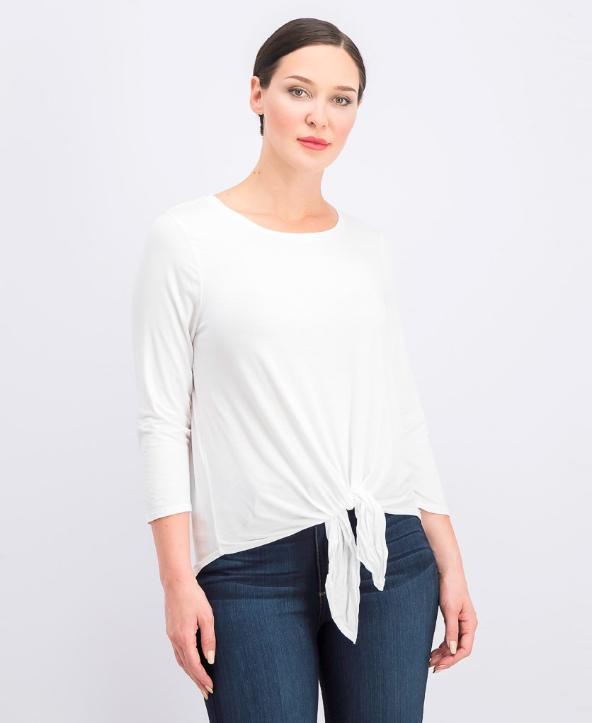 Women's Pullover Tie Front Tops, White