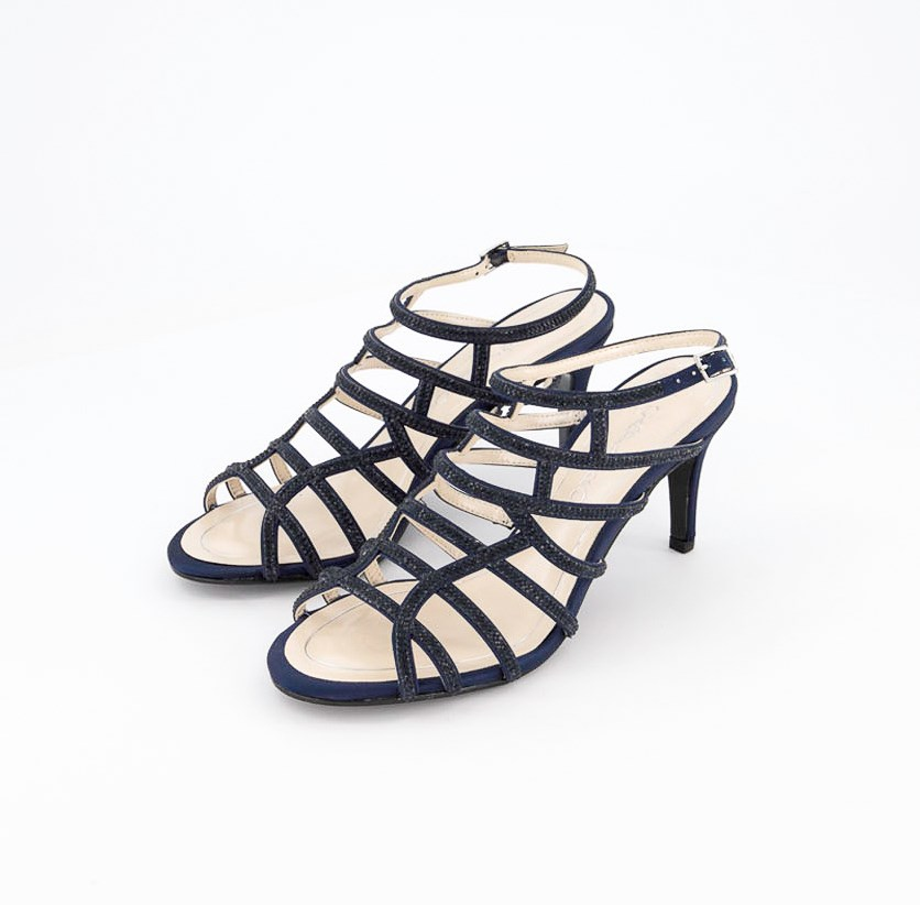 Harmonica Embellished Caged Evening Sandals, Navy