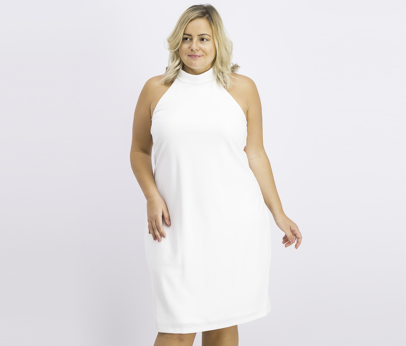 Women's Plus Size Halter Sheath Dress, Off White