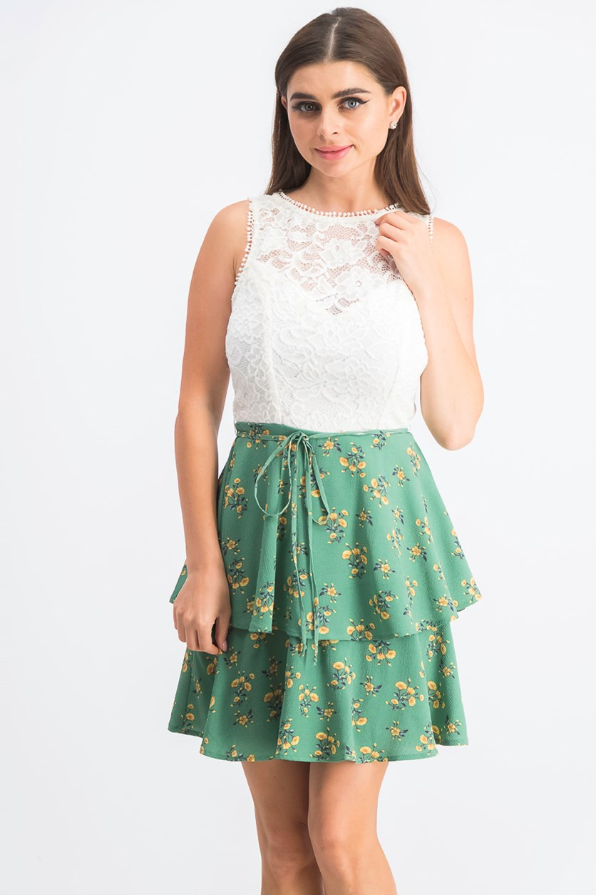 Juniors' Lace Floral-Print Fit & Flare Dress, Green/Ivory