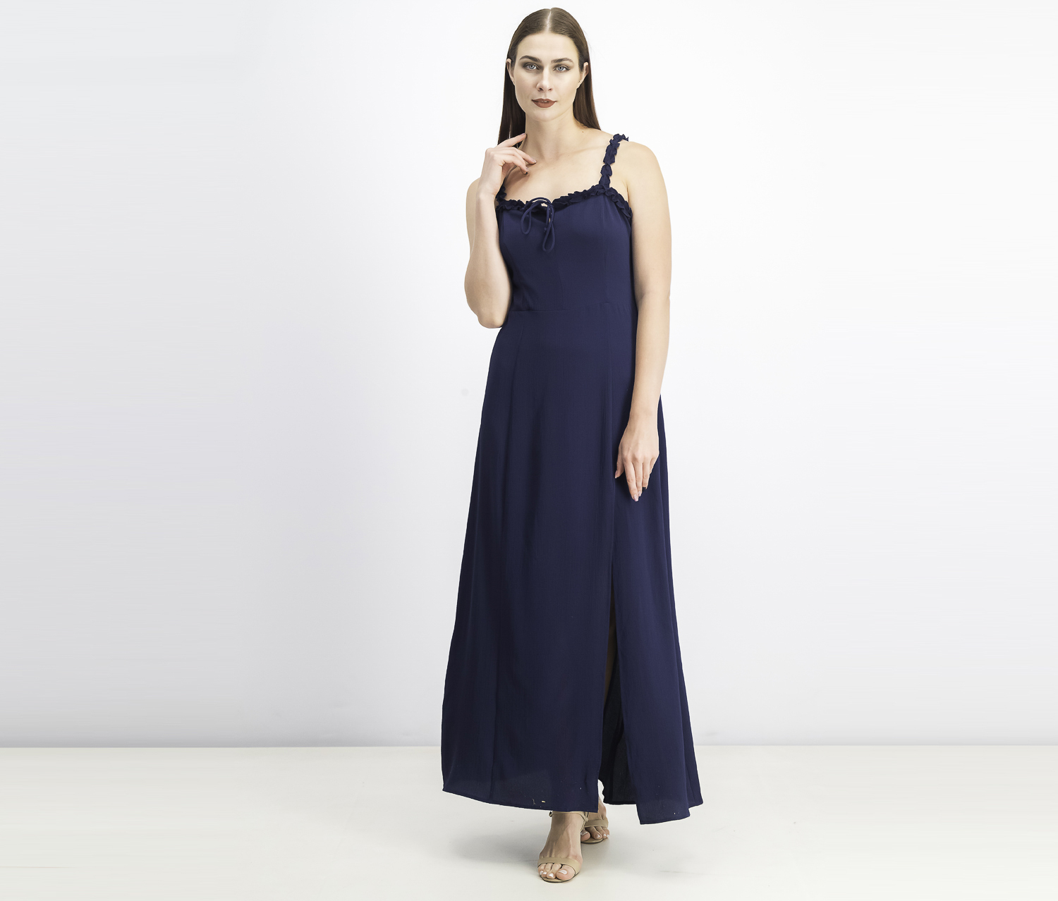 Women's Juniors' Ruffled Lace-up Maxi Dress, Navy