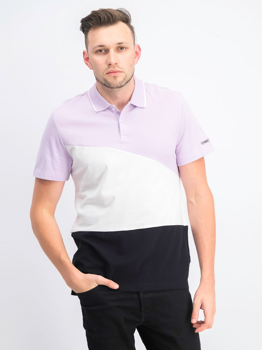 Men's Color Blocked Polo Shirt, Orchid Petal