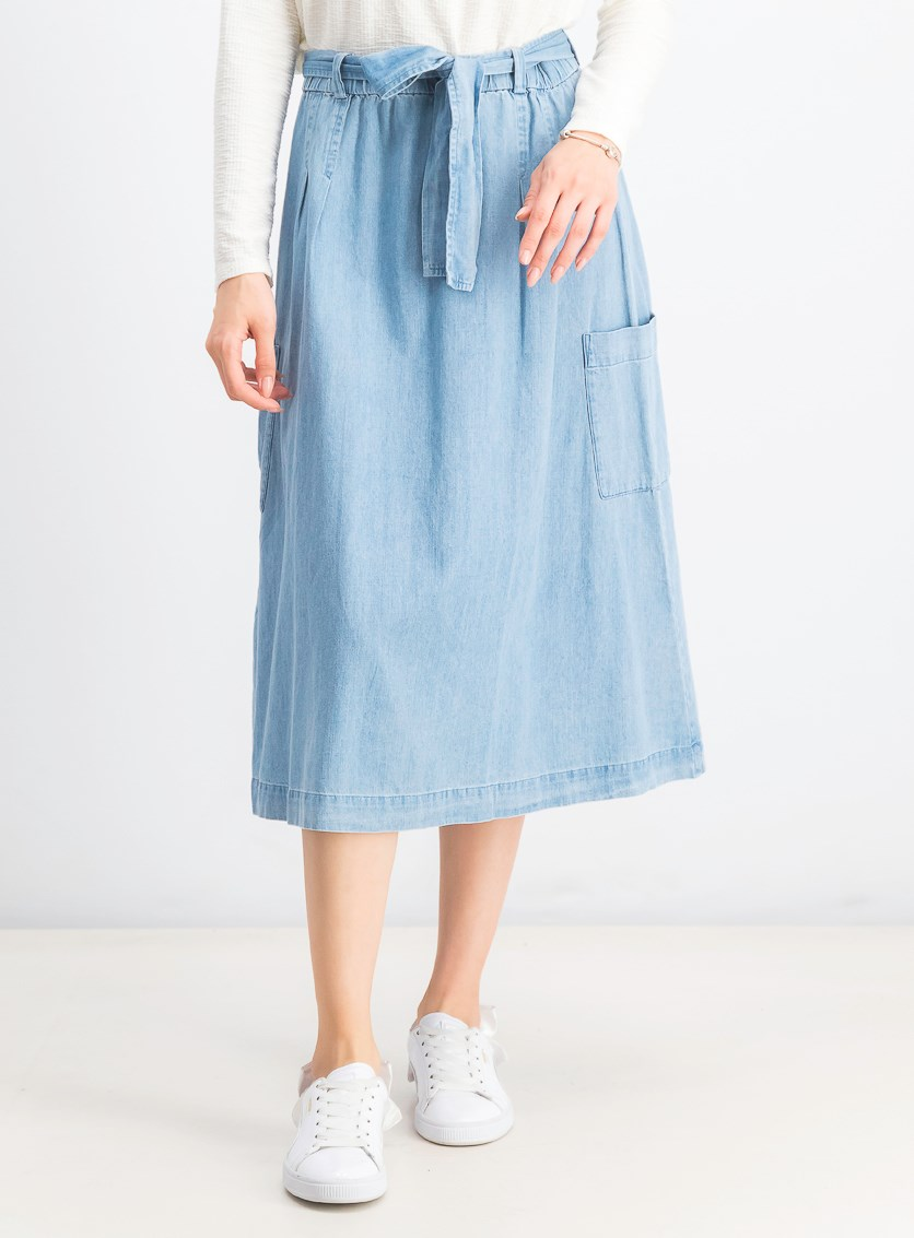 Women's  Cotton Belted Pull-On Skirt, Blue