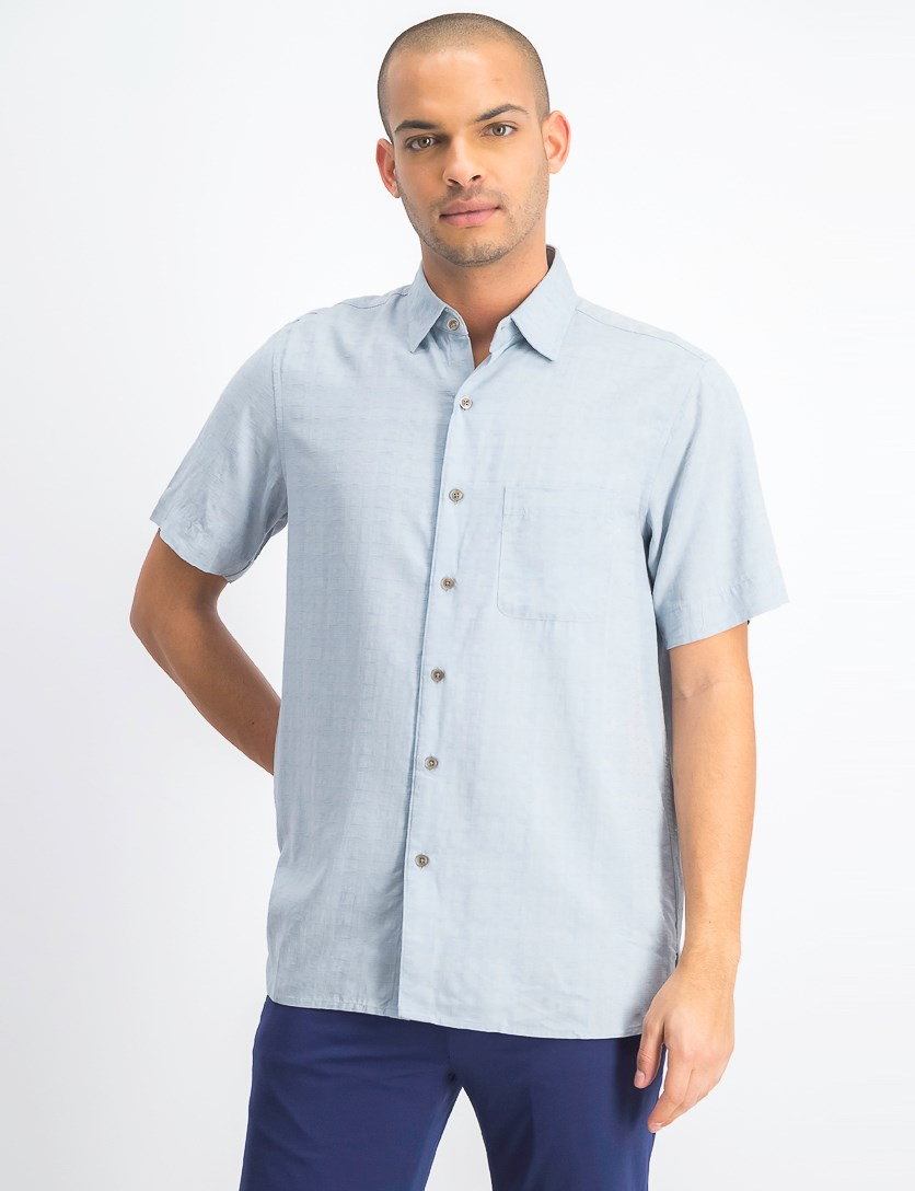 Men's Textured Silk Blend Shirt, Moonstone