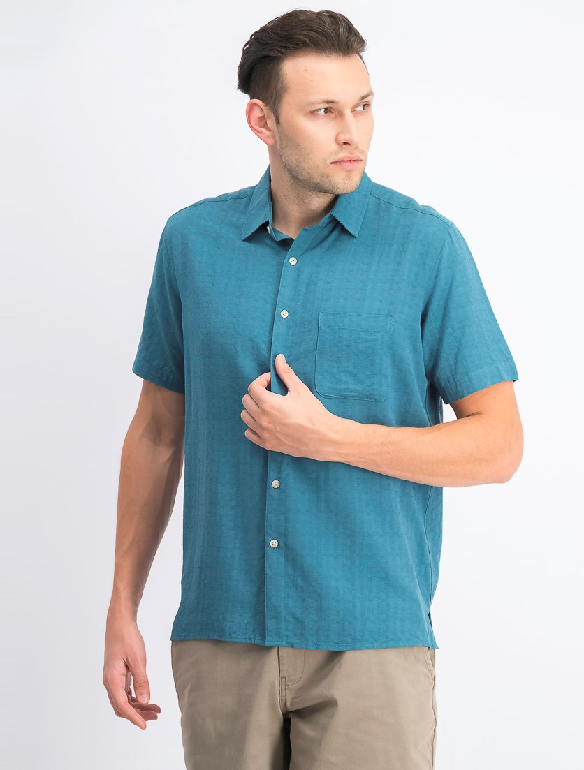 Men's Textured Silk Blend Shirt, Teal