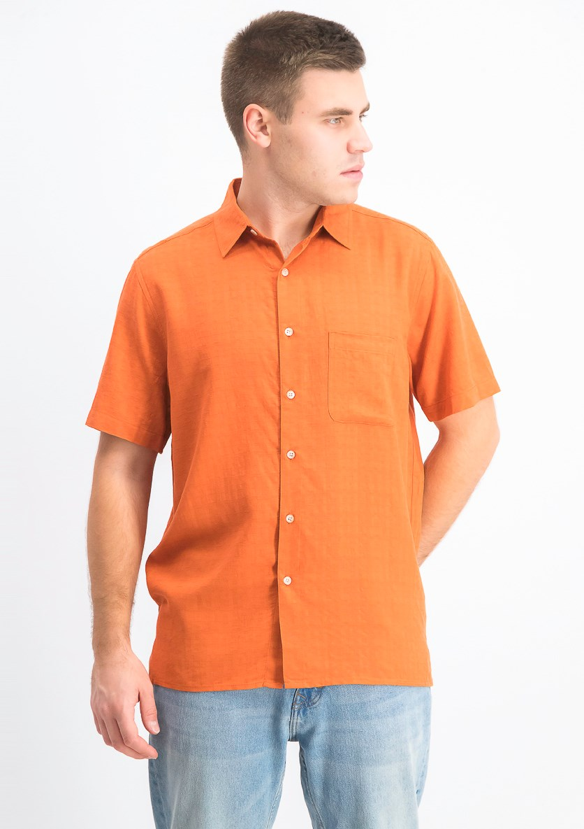 Men's Textured Silk Blend Shirt, Flame