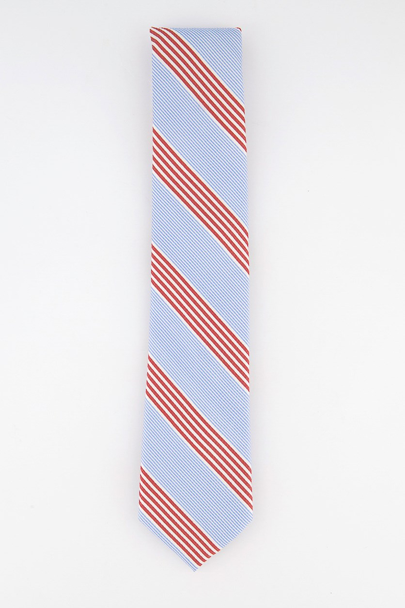 Men's Seersucker Stripe Silk Tie, Light Blue/Red