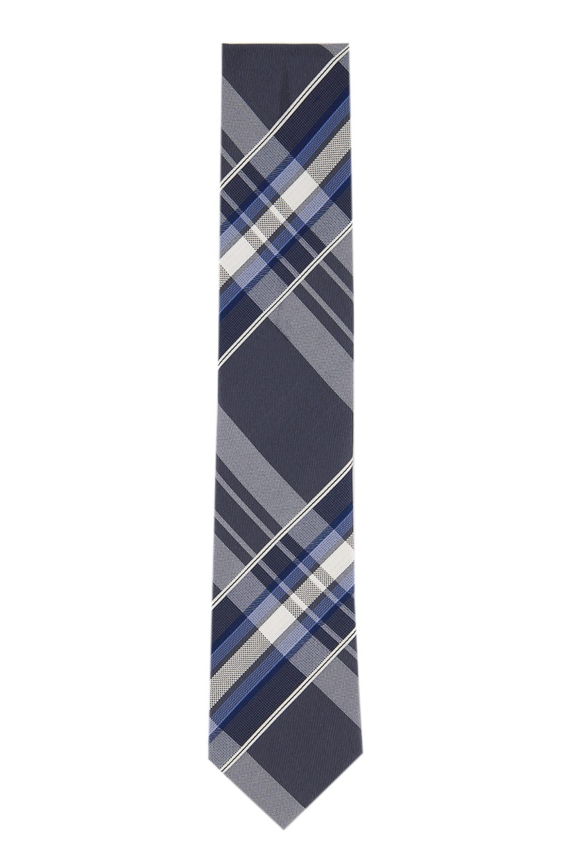 Men's Silk Plaid Neck Tie, Blue/Charcoal