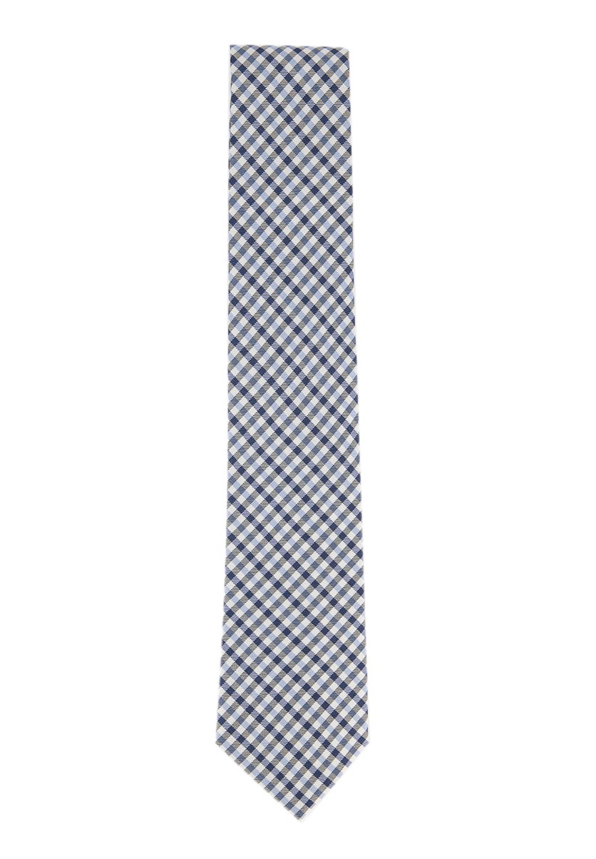 Men's Mini Gingham Silk Tie, Navy