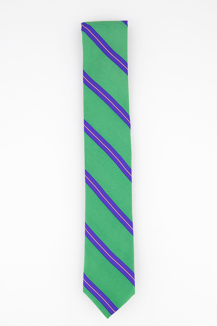 Men's Stripe Silk Tie, Green/Blue