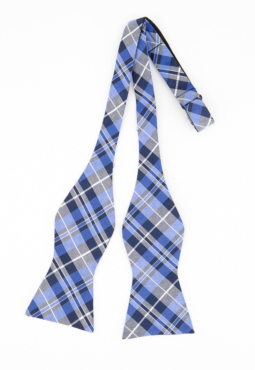 Men's West Side Plaid to-Tie Silk Bow Tie, Blue