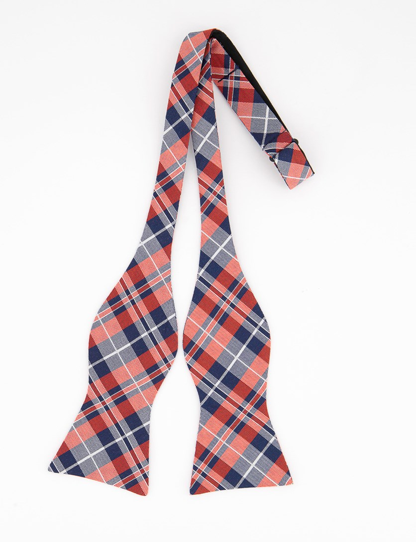 Men's West Side Plaid To-Tie Silk Bow Tie, Red/Navy Blue