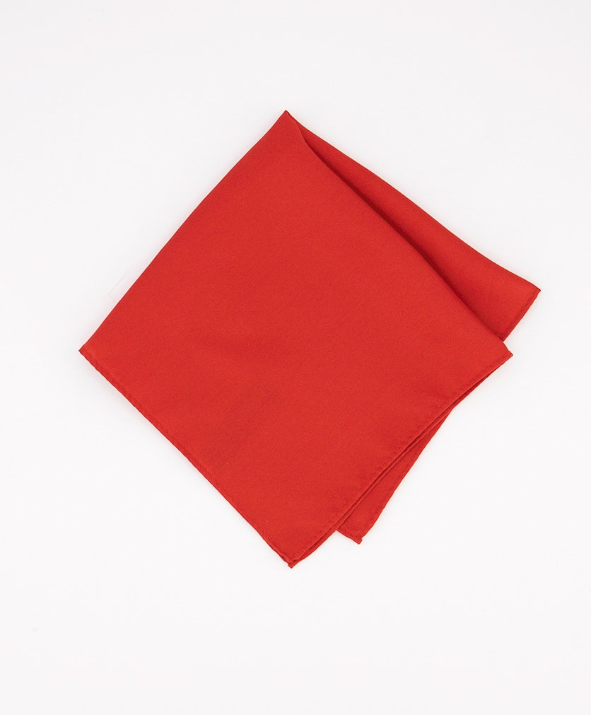 Mens Simple Solid Pocket Square, Red