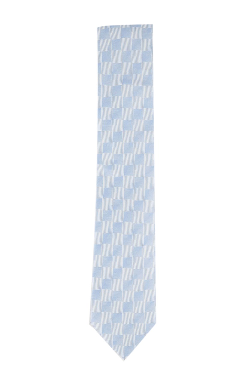 Men's Classic Linear Shadow Check Silk Tie, Slate Blue